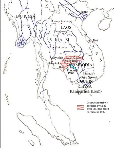 Map of Cambodia Showing the Te rritory That Siam Ceded To France in 1907